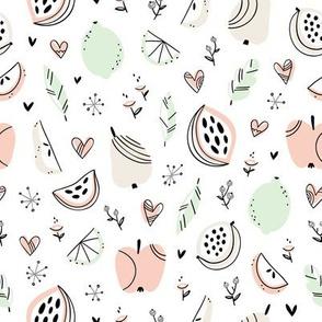 Stylized abstract fruits pattern