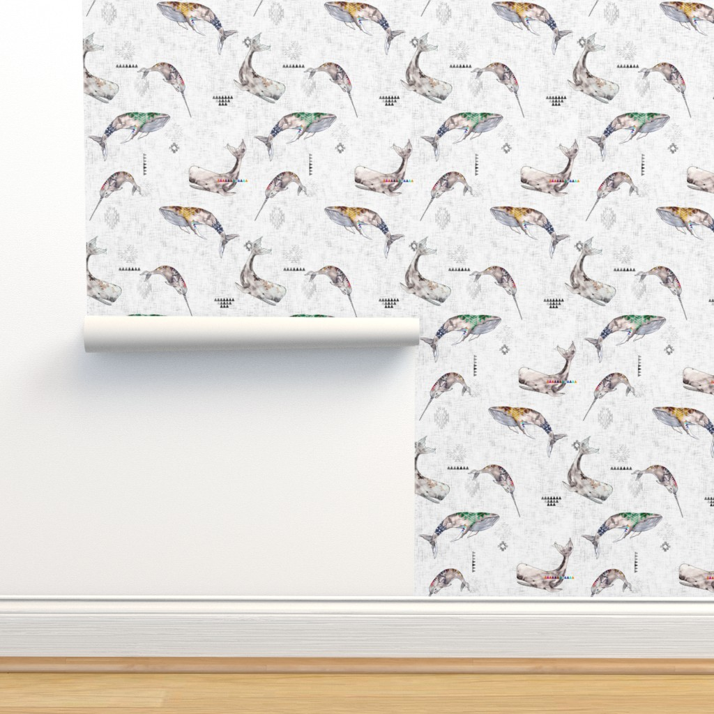 Isobar Durable Wallpaper featuring Whale Tribe (SMALL) by nouveau_bohemian