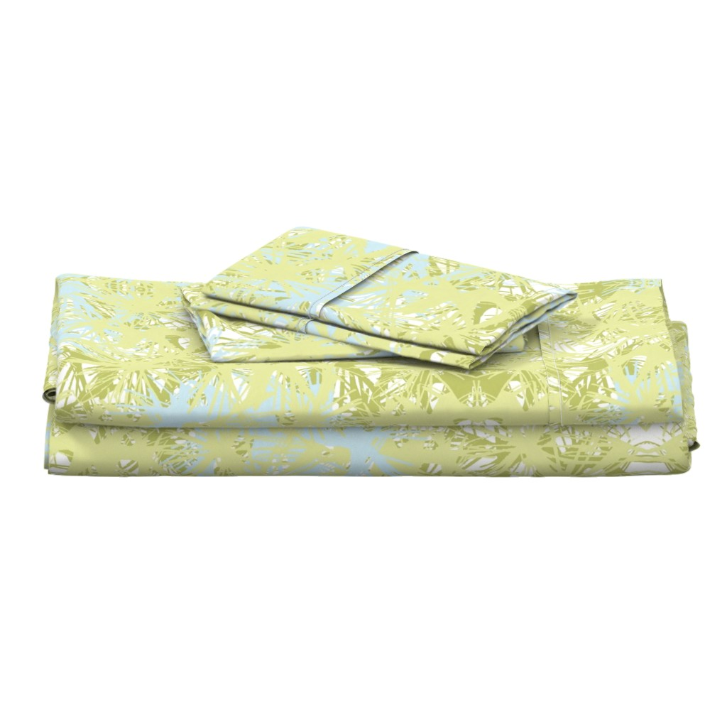 Langshan Full Bed Set featuring Tropical_plant in lime by elainecollinsdesigns