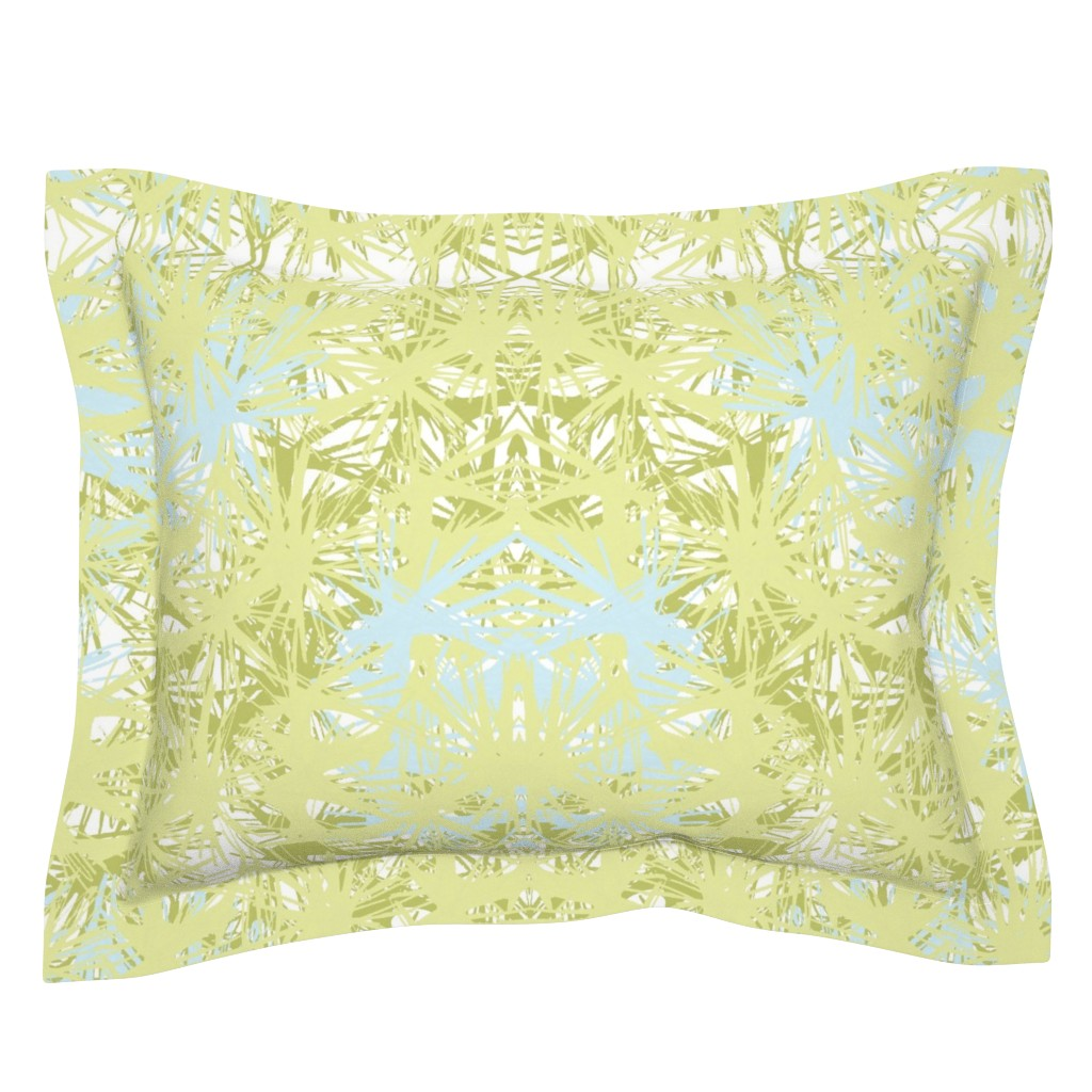 Sebright Pillow Sham featuring Tropical_plant in lime by elainecollinsdesigns