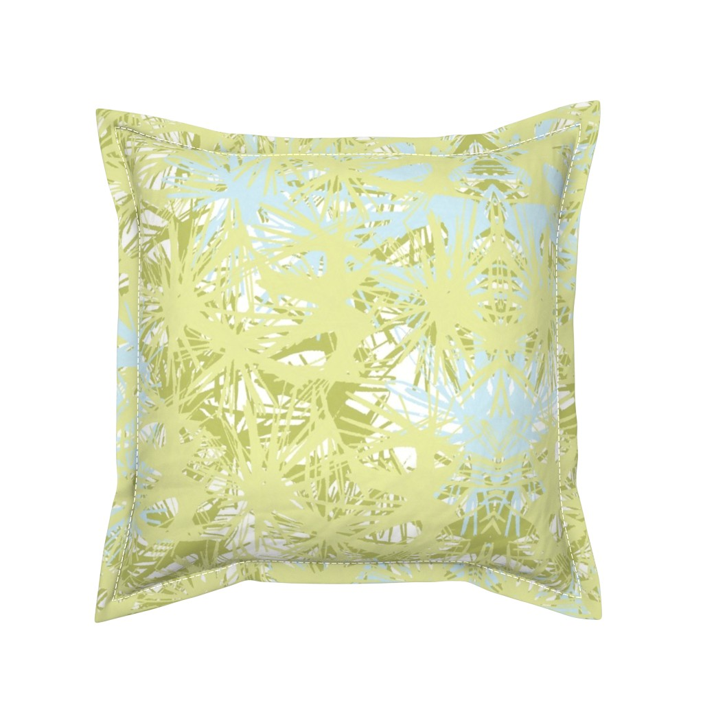 Serama Throw Pillow featuring Tropical_plant in lime by elainecollinsdesigns