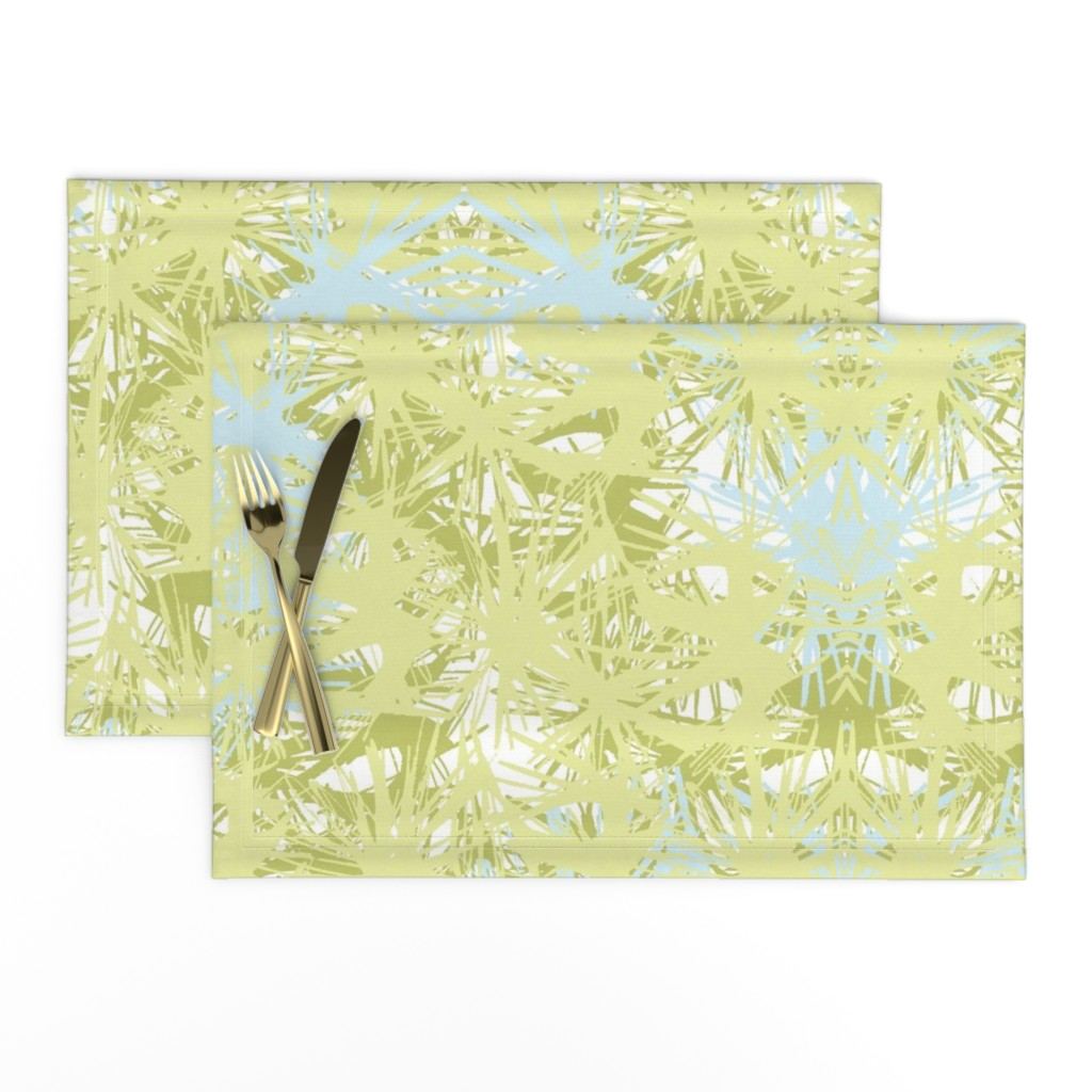 Lamona Cloth Placemats featuring Tropical_plant in lime by elainecollinsdesigns
