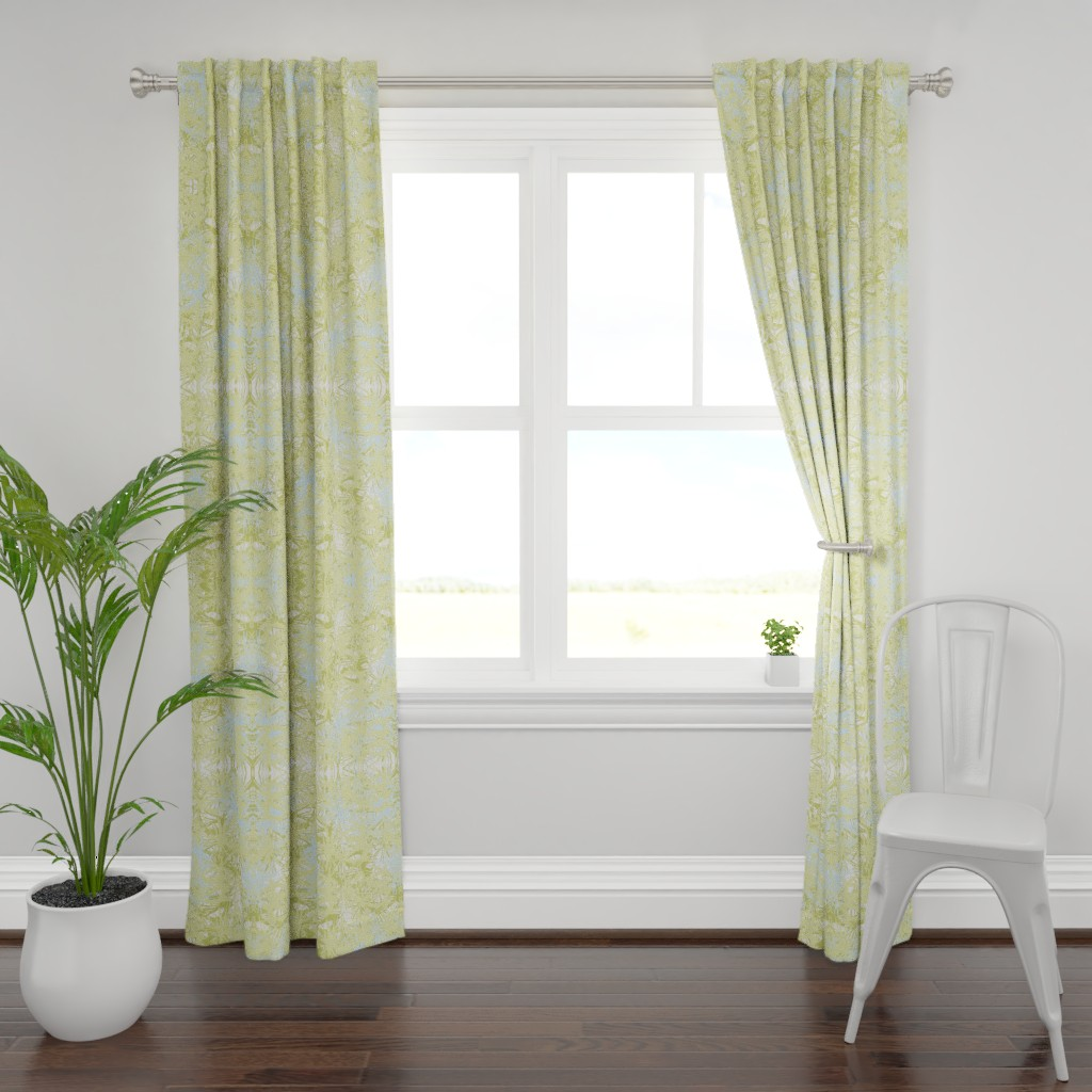 Plymouth Curtain Panel featuring Tropical_plant in lime by elainecollinsdesigns