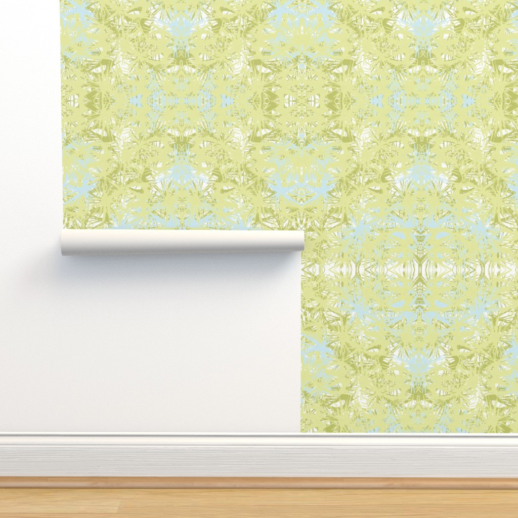 Isobar Durable Wallpaper featuring Tropical_plant in lime by elainecollinsdesigns