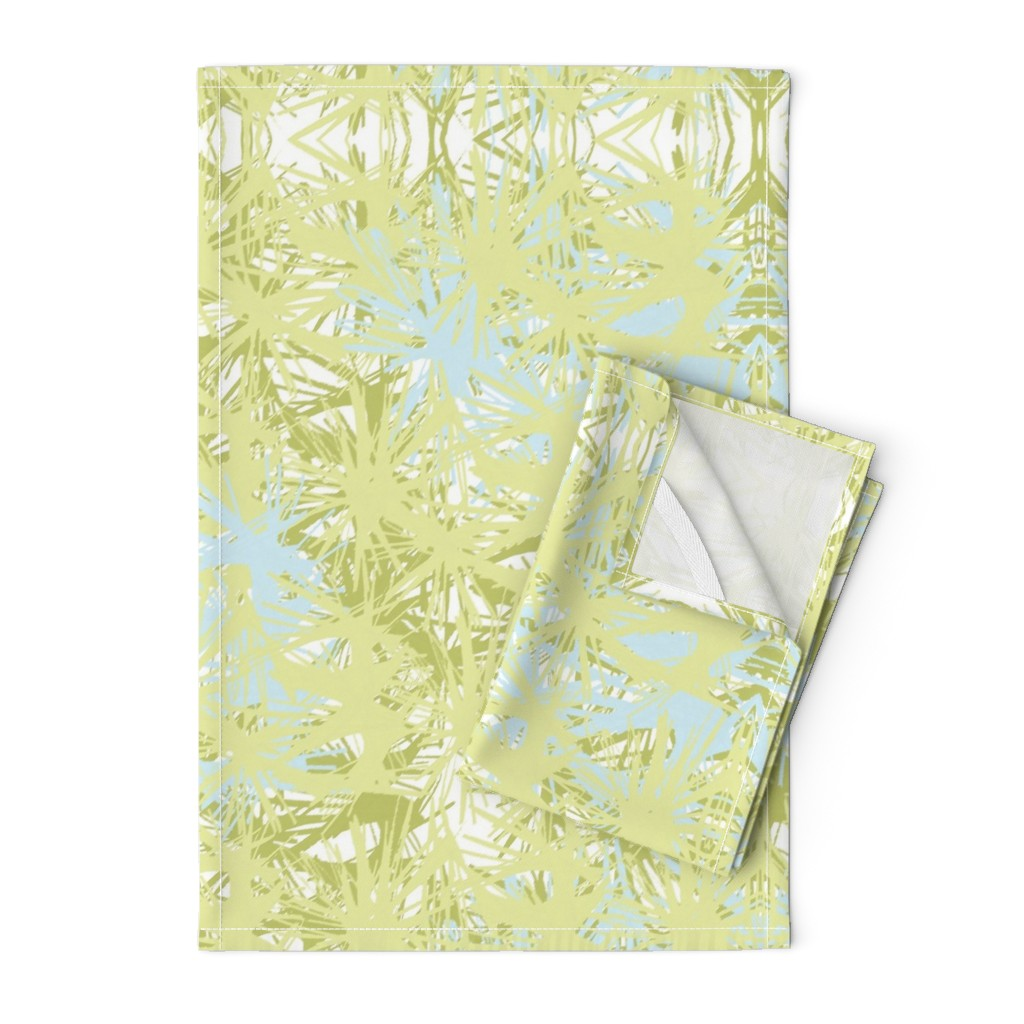 Orpington Tea Towels featuring Tropical_plant in lime by elainecollinsdesigns