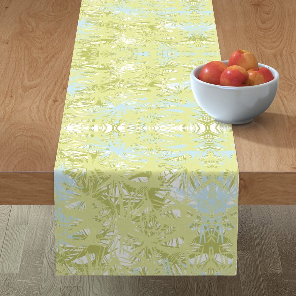 Minorca Table Runner featuring Tropical_plant in lime by elainecollinsdesigns