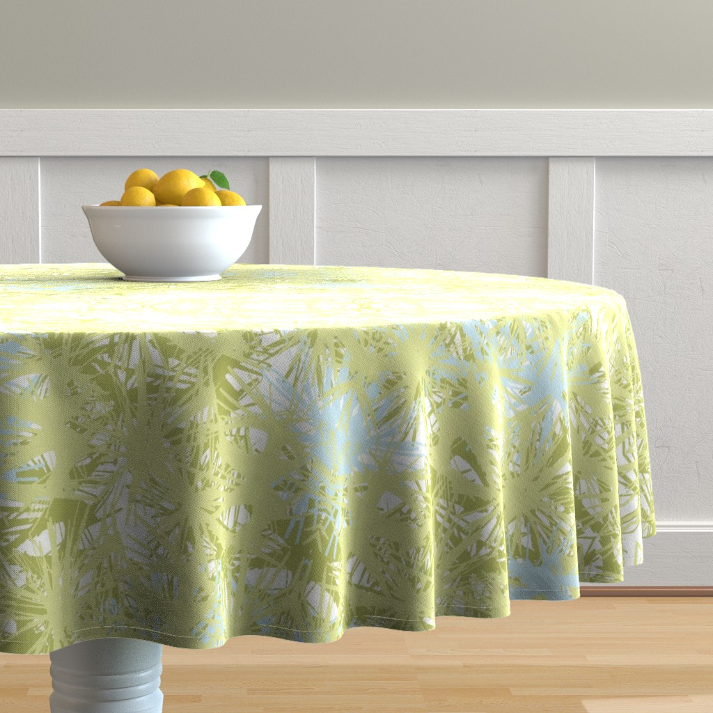 Malay Round Tablecloth featuring Tropical_plant in lime by elainecollinsdesigns
