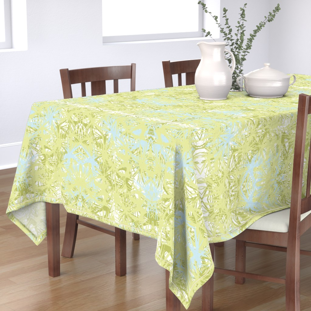 Bantam Rectangular Tablecloth featuring Tropical_plant in lime by elainecollinsdesigns