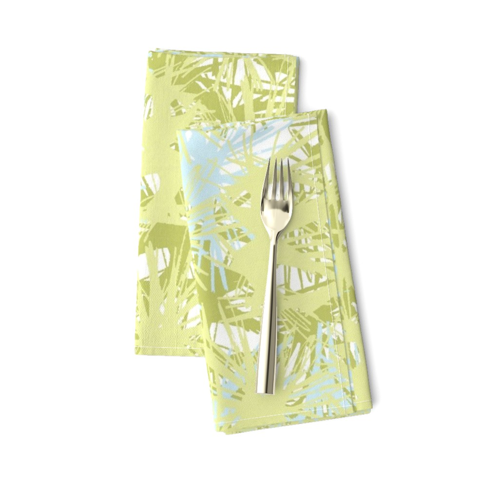 Amarela Dinner Napkins featuring Tropical_plant in lime by elainecollinsdesigns