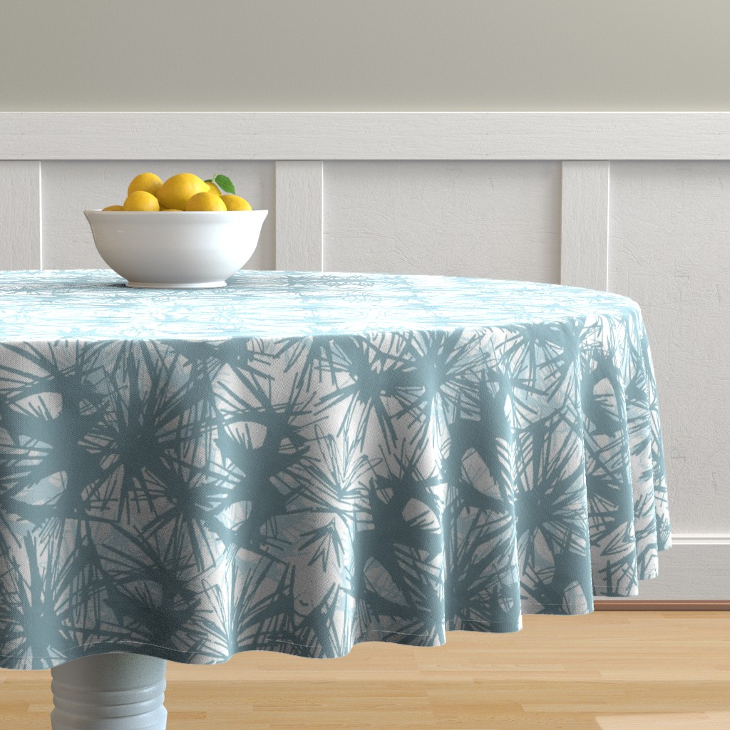 Malay Round Tablecloth featuring tropical_Teal by elainecollinsdesigns