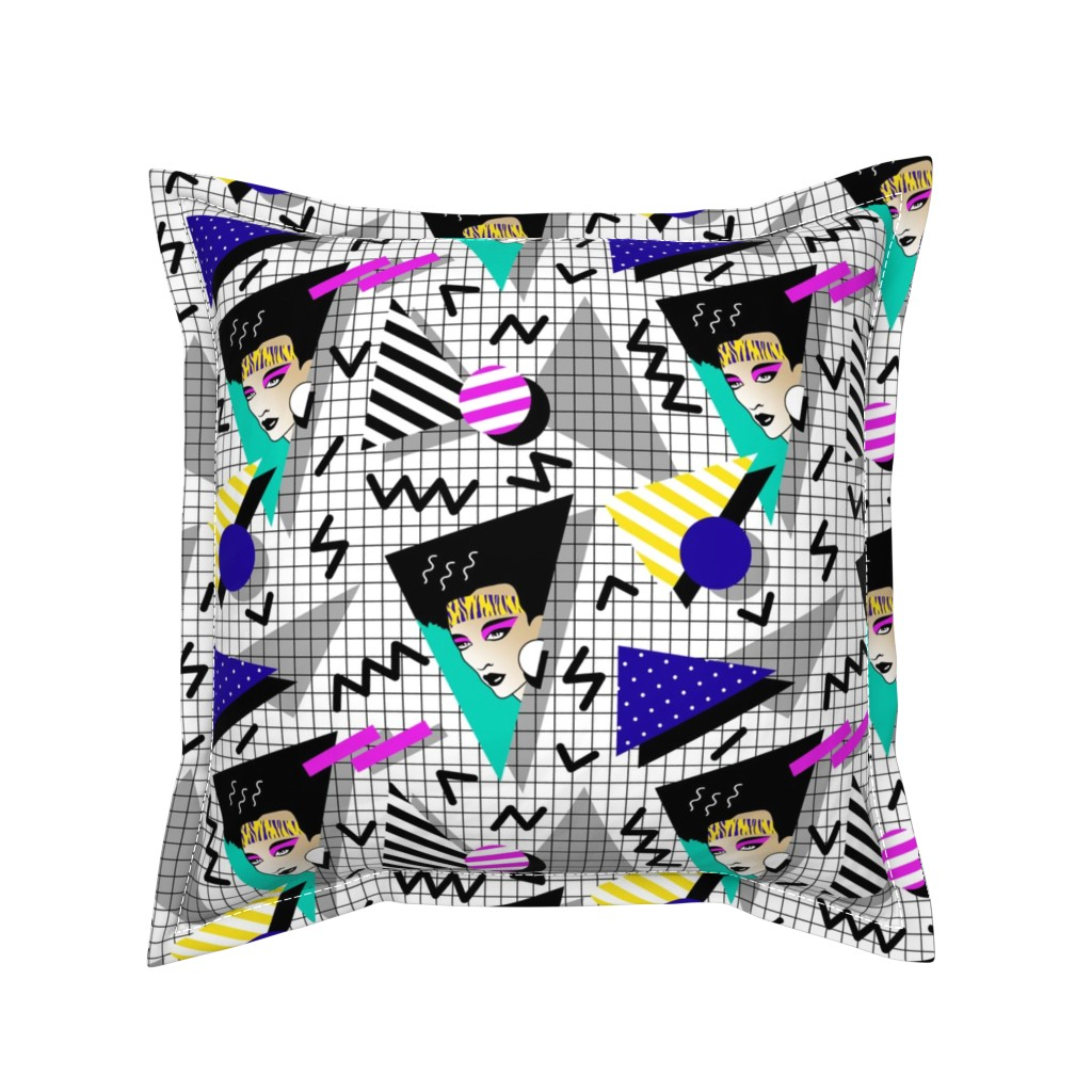 Serama Throw Pillow featuring 80's look by mirabelleprint