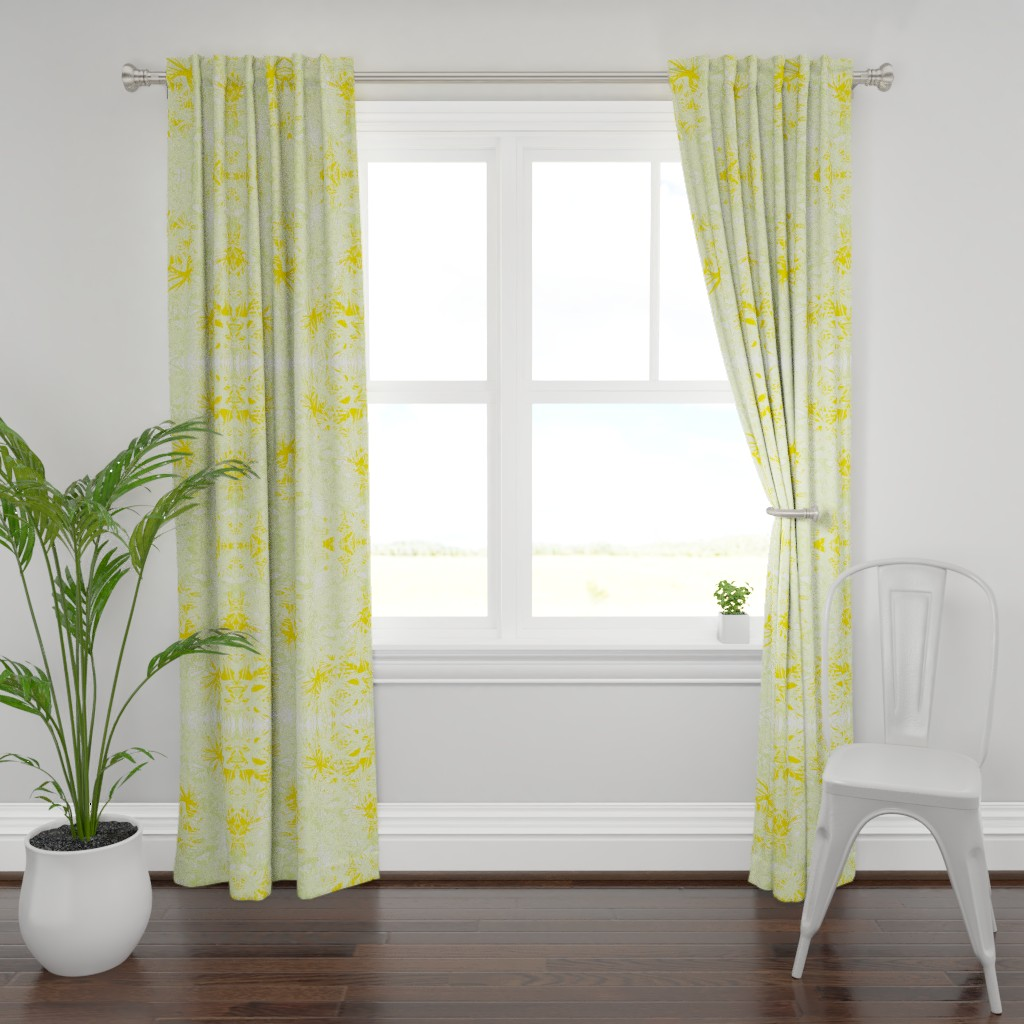 Plymouth Curtain Panel featuring Tropical_plant in satsuma by elainecollinsdesigns