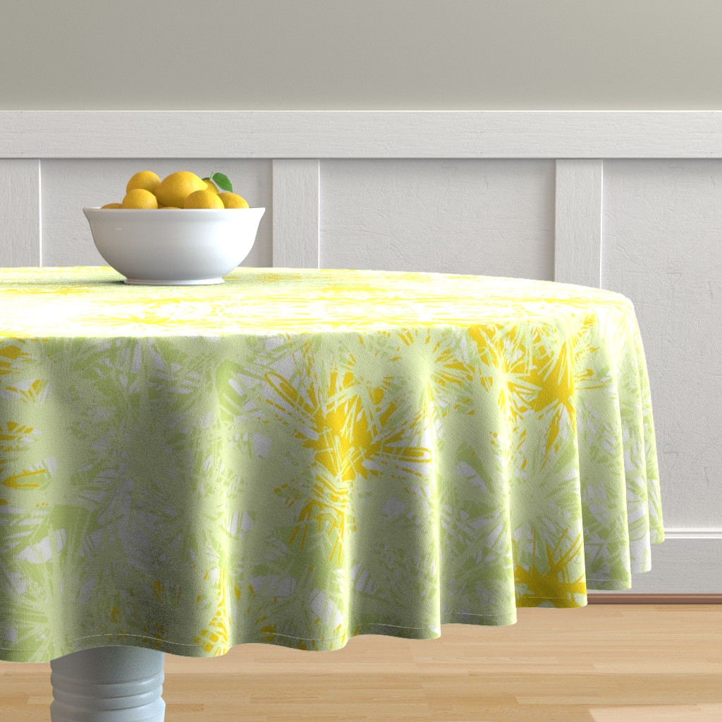 Malay Round Tablecloth featuring Tropical_plant in satsuma by elainecollinsdesigns