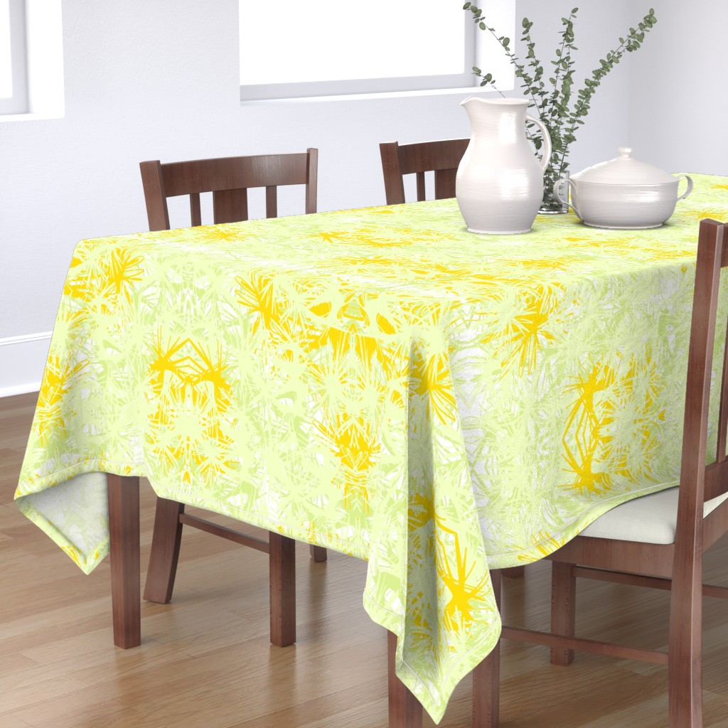 Bantam Rectangular Tablecloth featuring Tropical_plant in satsuma by elainecollinsdesigns