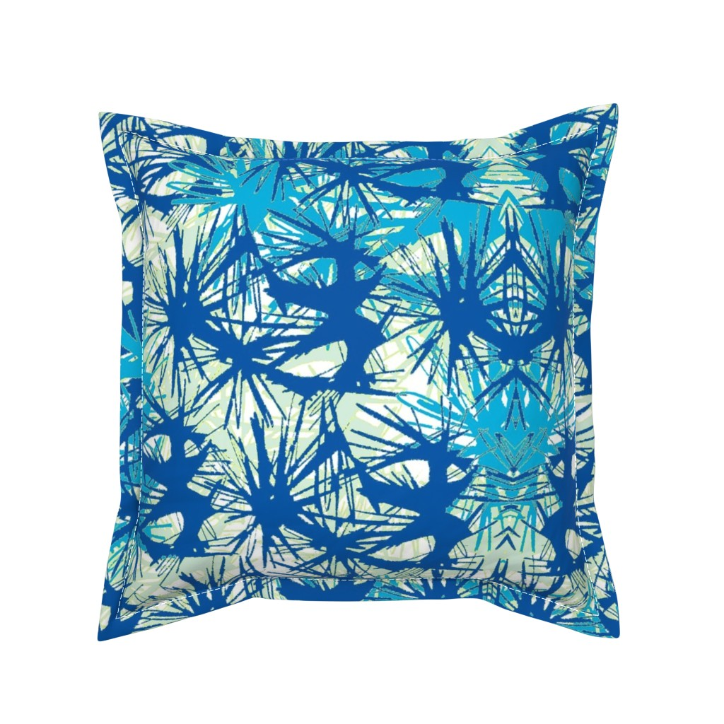 Serama Throw Pillow featuring Tropical_plant in midnight sky by elainecollinsdesigns
