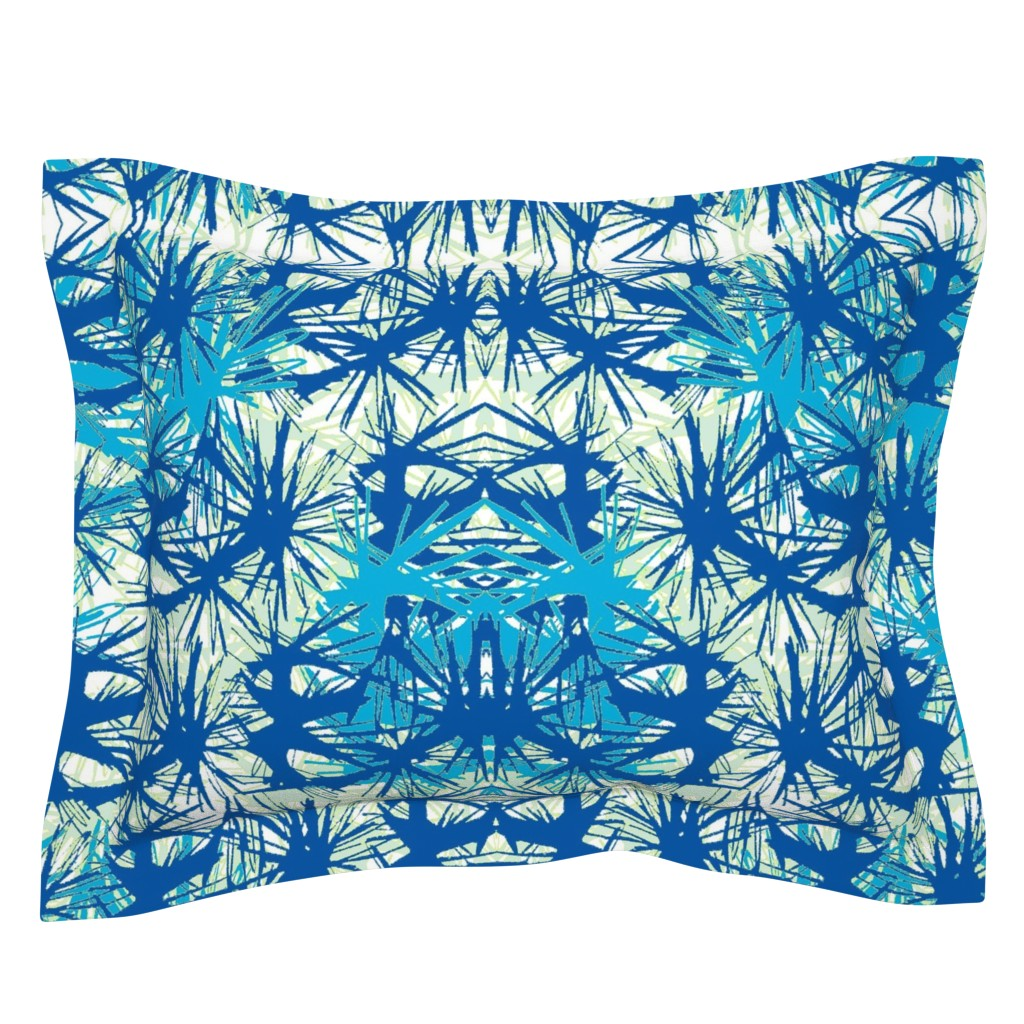 Sebright Pillow Sham featuring Tropical_plant in midnight sky by elainecollinsdesigns