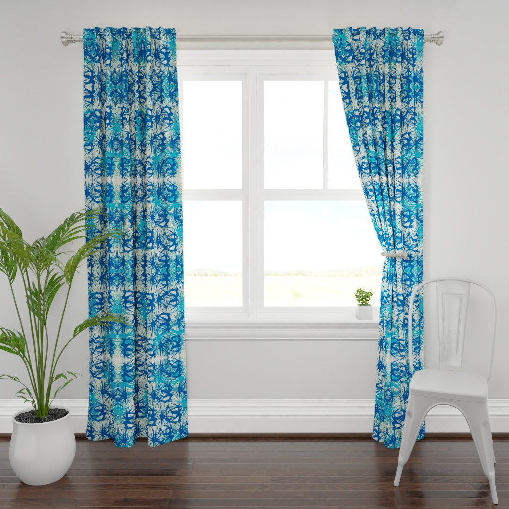 Plymouth Curtain Panel featuring Tropical_plant in midnight sky by elainecollinsdesigns