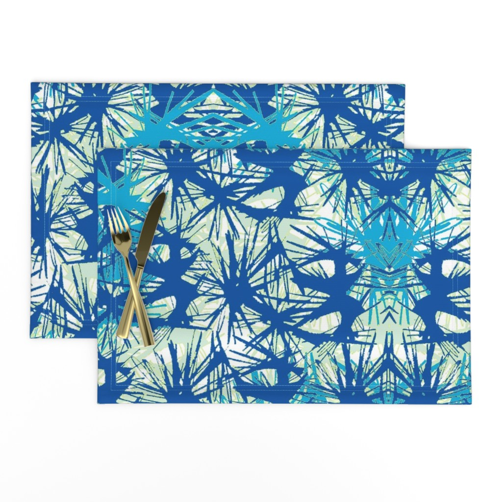 Lamona Cloth Placemats featuring Tropical_plant in midnight sky by elainecollinsdesigns