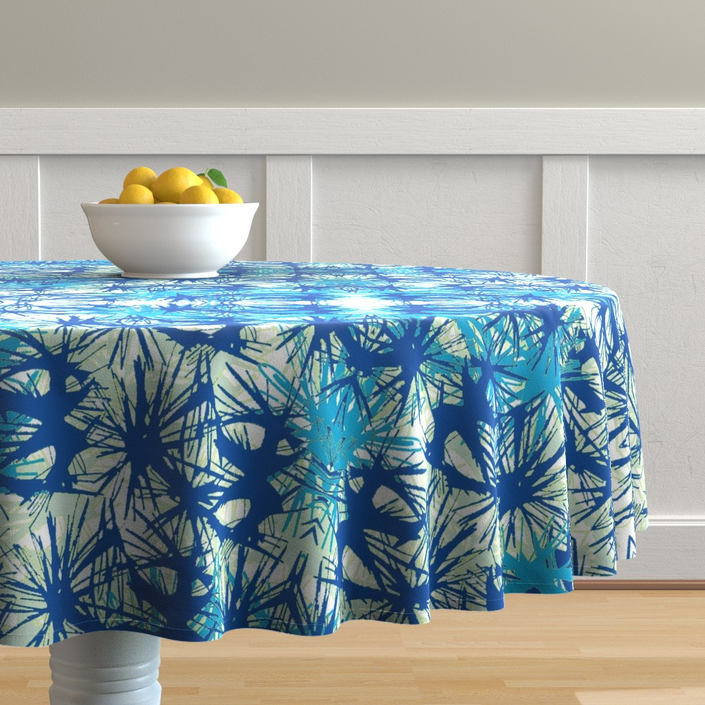 Malay Round Tablecloth featuring Tropical_plant in midnight sky by elainecollinsdesigns
