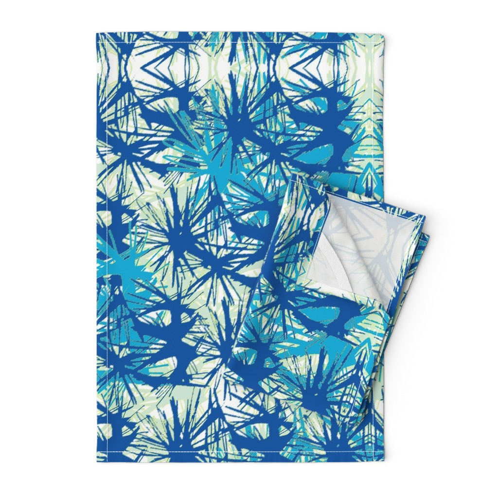 Orpington Tea Towels featuring Tropical_plant in midnight sky by elainecollinsdesigns