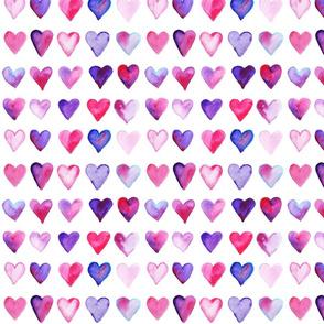 Watercolor Hearts Small