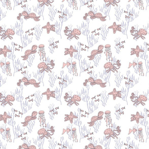 pink sea friends in periwinkle coral