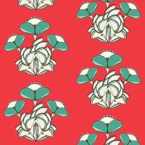 Triple Geometric Flower-red