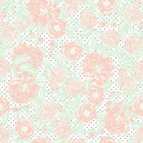 Scattered vintage flowers on white with grey dots