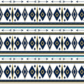Aztec in Navy, White and Gold