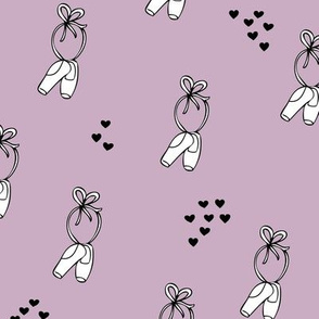Cute ballerina ballet dancer pointe shoes for dance addicts and little princess girls violet