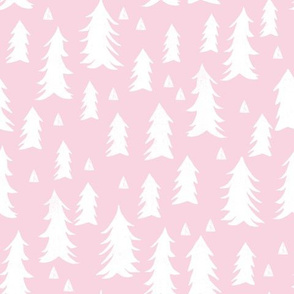trees // pink baby girl nursery girls pink pastel fir tree forest trees