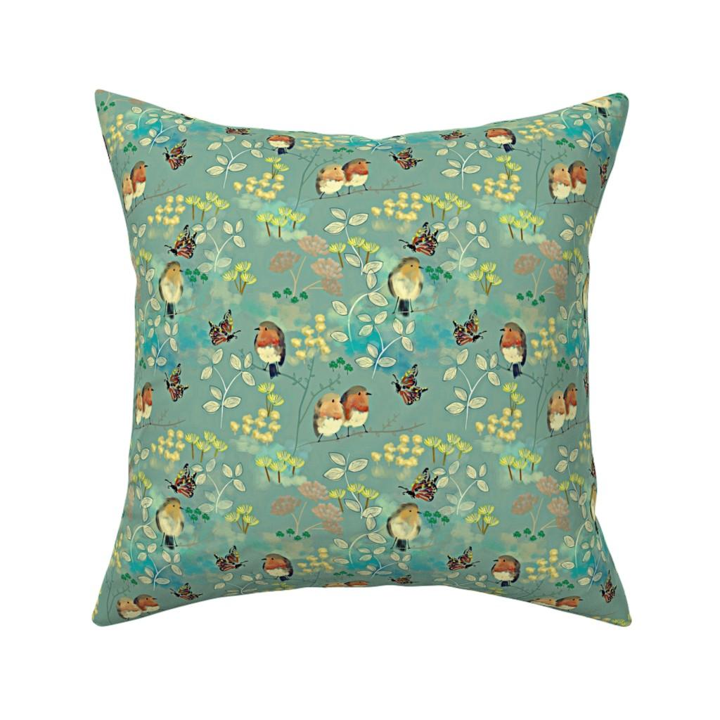 Catalan Throw Pillow featuring Birds and Butterflies by susan_polston