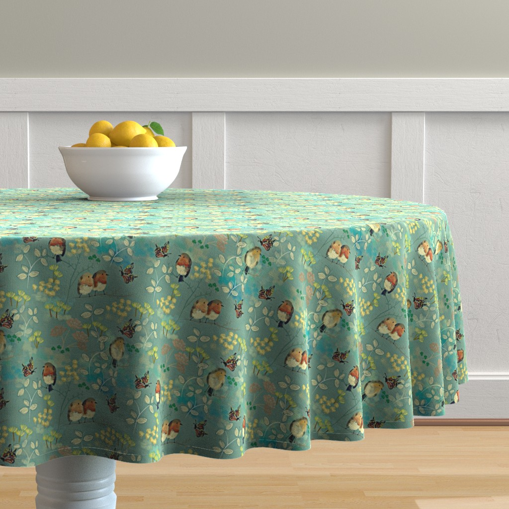 Malay Round Tablecloth featuring Birds and Butterflies by susan_polston