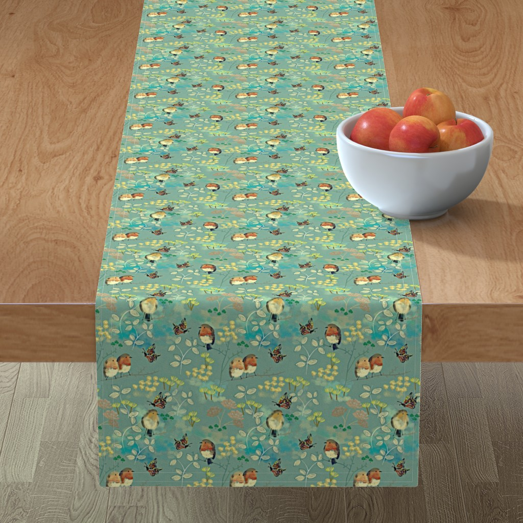 Minorca Table Runner featuring Birds and Butterflies by susan_polston