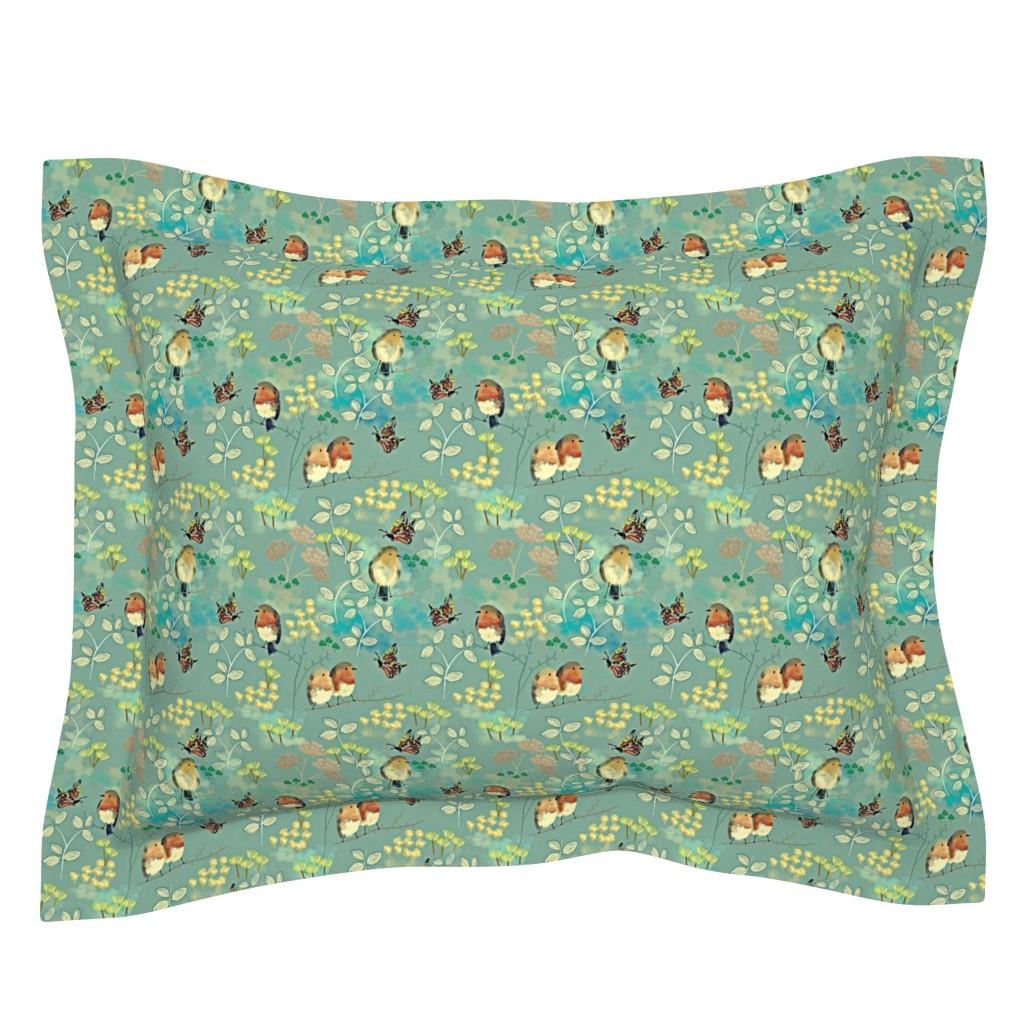 Sebright Pillow Sham featuring Birds and Butterflies by susan_polston