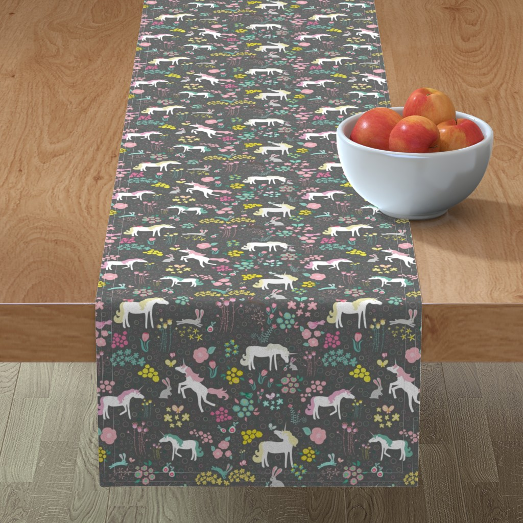 Minorca Table Runner featuring Unicorns Pastel and Grey with Bunnies and Bubbles by mainsailstudio