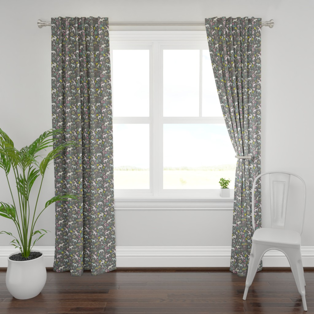 Plymouth Curtain Panel featuring Unicorns Pastel and Grey with Bunnies and Bubbles by mainsailstudio