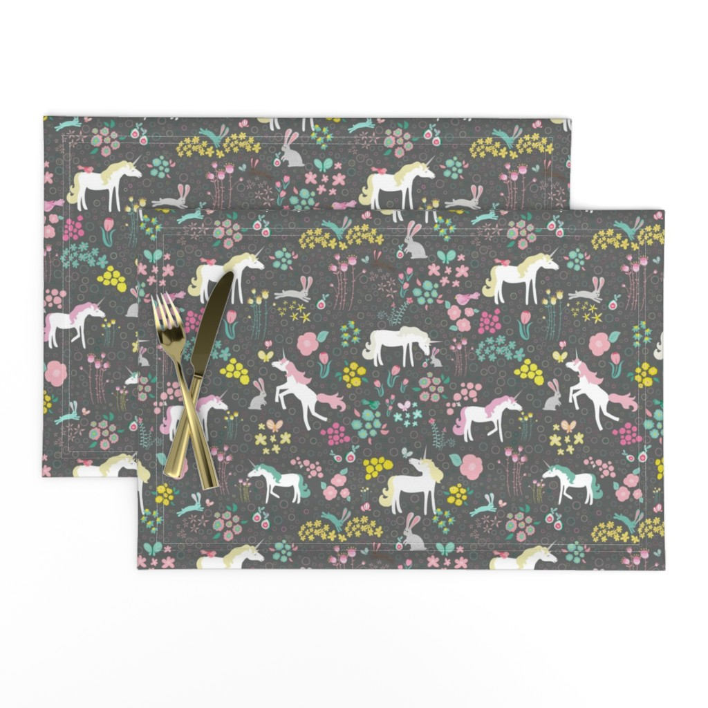 Lamona Cloth Placemats featuring Unicorns Pastel and Grey with Bunnies and Bubbles by mainsailstudio