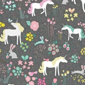 Unicorns Pastel and Grey with Bunnies and Bubbles
