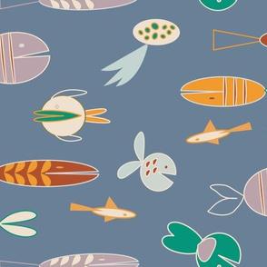 pastel blue geometric various fish