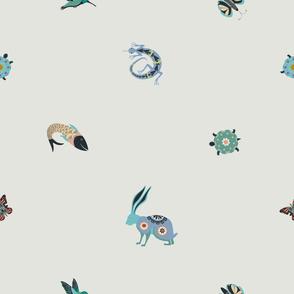 Folk art animals minimalist design