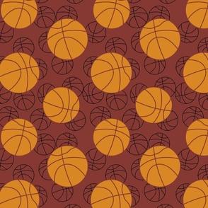 Basketballs on maroon