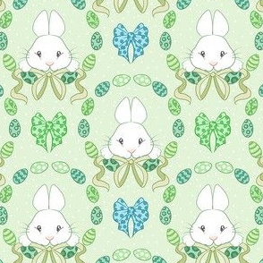 Easter bunnies on green