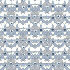 Gray Is Beautiful Blue Hearts and Stars Fabric #1