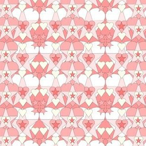 Gray Is Beautiful Pink Hearts and Stars Fabric #2