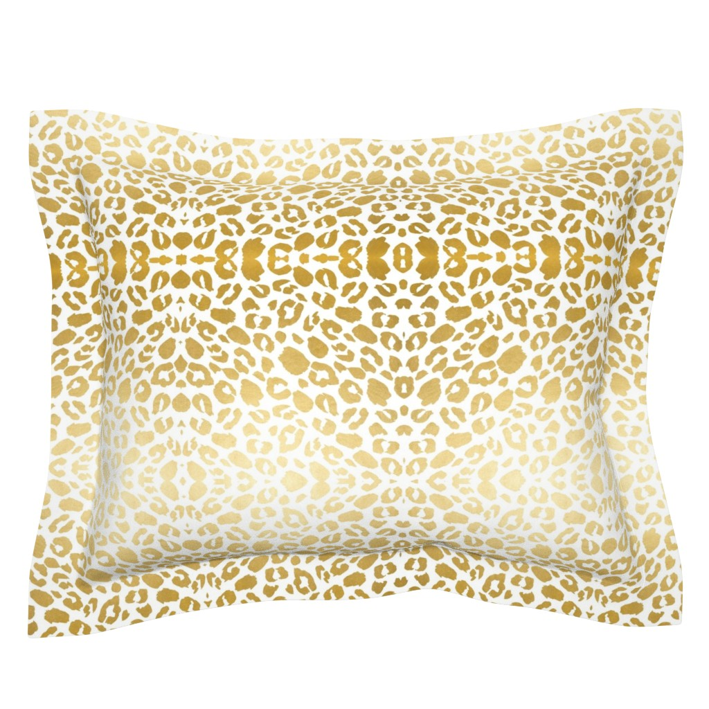 Sebright Pillow Sham featuring Gold leopard print by mlags