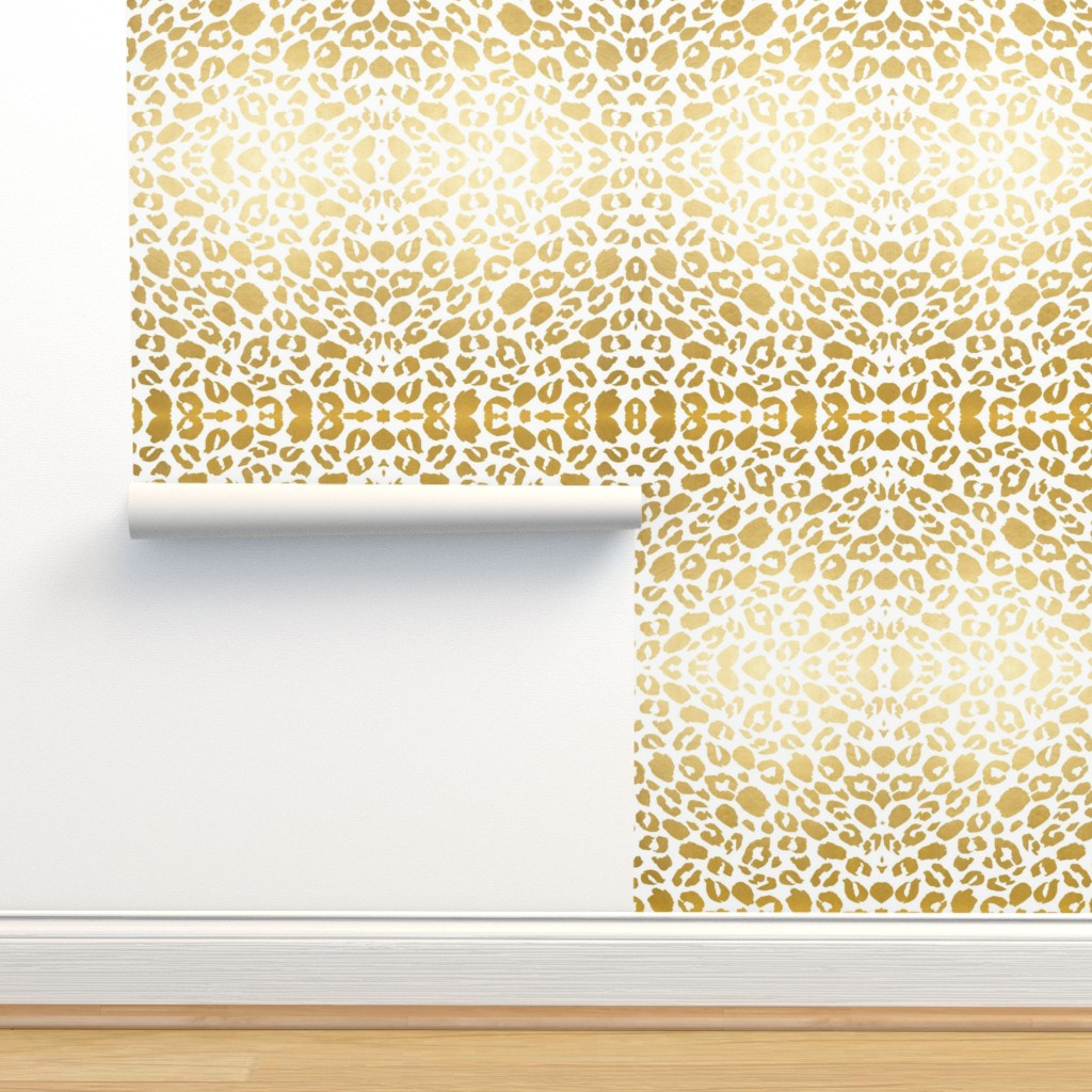 Isobar Durable Wallpaper featuring Gold leopard print by mlags