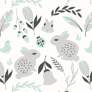 Bunnies and flowers 002