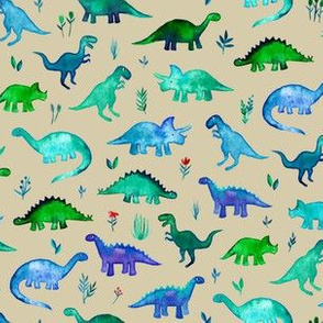 Tiny Dinos in Blue and Green on Tan Small Print