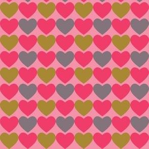 Pink, Gray & Green Hearts